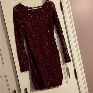 Macy's: Formal maroon, sheer sequin dress